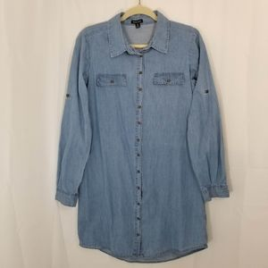 Chambray Dress Long Sleeved Button Front Blue